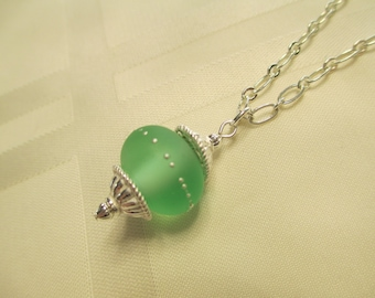 Lampwork Bead Necklace in Soft Green