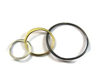 Three Circle Link, Mixed Metal Link, 37mm x 18mm Triple Link, Sterling Silver, Bronze and Oxidized Sterling (CH 2823X3)