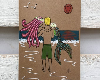 Mermaid surfer surf art Wedding card love couple embrace sea beach theme mythical surfing anniversary