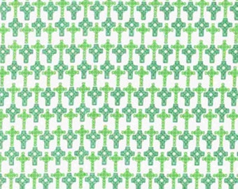 Celtic Crosses St. Patrick's Day Cotton Fabric sold by the yard and by the half yard