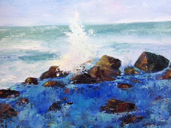 Ocean Water Spout, Cape Perpetua Oregon Beach,  Plein Air Seascape, Ocean Painting