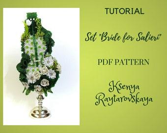 PDF pattern DIY beading project Beading patterns Beaded flowers Violin art Gift Wedding candlestick Everlasting rose Green leaves Sparkle
