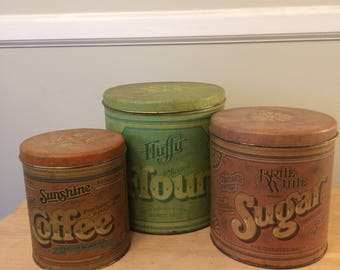 Three (3) Piece Vintage tin canister set...Ballonoff canisters...flour, sugar, coffee,  canisters...nesting canisters...U.S.A