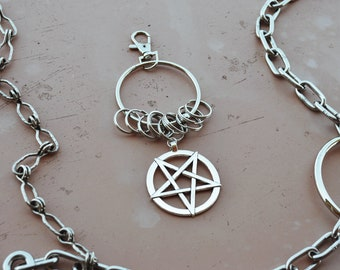 occult keyring holder pentagram keychain