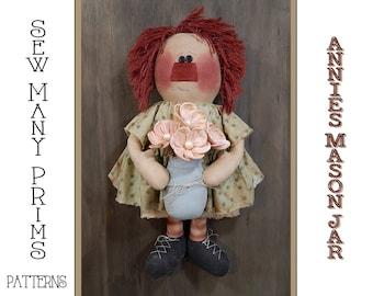 Primitive Doll PATTERN raggedy ann - Mason Jar Annie - Sew Many Prims - instant download