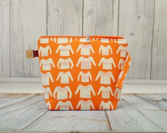 Orange Handknit Sweaters Large Clutch Project Bag,Cross Stitch Project Bag,Wedge Zipper Bag for Knitting and Crochet. Padded Bag. Zipper bag