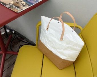 Tote Bag Large : Tyvek and Kraft paper tote bag/market bag/handbags/lunch bag/washable bag and eco friendly