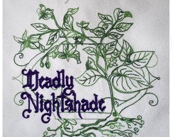 Deadly Nightshade Embroidered Canvas Tote Bag - Green Eco Friendly Shopping Bag, Apothecary Poison Magic Potion Witch Gothic Gift Bag (2376)