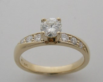 Vintage 14K Yellow Gold Diamond Engagement Ring  0.81 Ct., T.D.W. Circa 1980