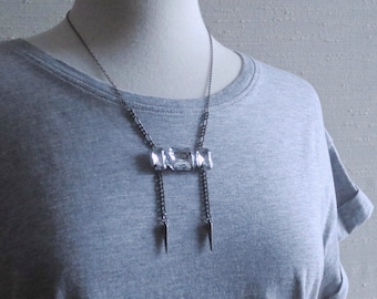 Westenra - Gunmetal Spike Diamante Multichain Necklace with Sparkling Statement Element and a Goth Edge by InfinEight