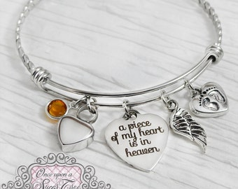 Cremation Jewelry, Urn Cremation Bracelet- A piece of my heart is in heaven, Remembrance, Infant Loss, Bereavement, Pregnancy Loss, Wing