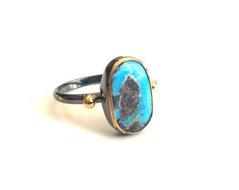 Blue Oval Turquoise Ring with gold balls made in sterling silver coated 18K gold. Natural turquoise ring, oxidized silver ring, oval stone