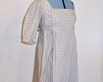 """Readymade Regency Bib Front Gown, White With Blue & Red Lattice Floral Print, Bust 32""""-34"""""""