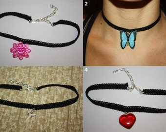 Lace Choker Necklaces - Various Styles: Crown, Fairy, Wing, Key, Flower, Butterfly, Shark Tooth, Heart, Snowflake, etc