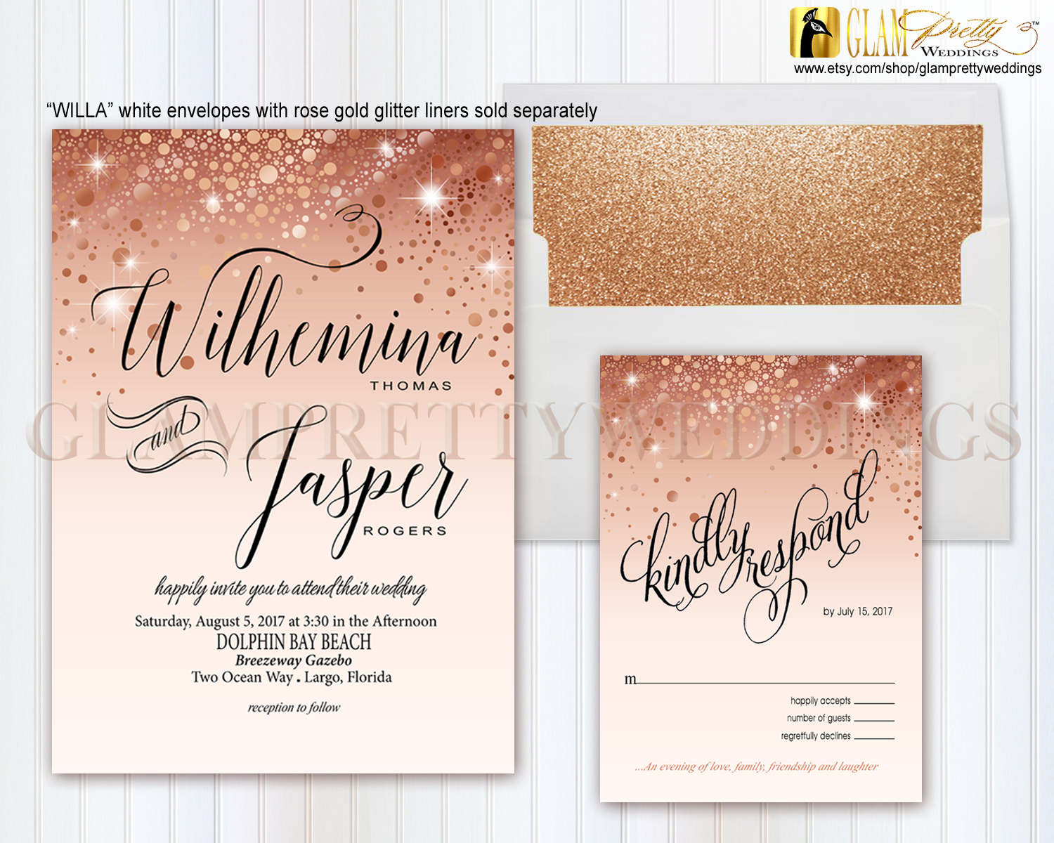 Blush Rose Gold Foil Confetti Wedding Invite & RSVP card Rose