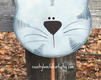 Cat lover gift, grey tabby cat, plant pokes, plant stick , hand painted, crazy cat lady gift idea, gift for gardeners, indoor plant decor