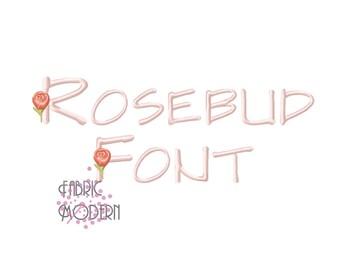 "1.75"" MONOGRAM  ROSEBUD   Flower Font  1.75 inch  Fancy capitals  full alphabet  modern vintage style  bx  pes  #928"