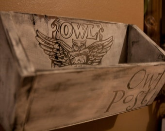 Owl Post Mail Holder Wall Hanging / Harry Potter Home Decor - Post Box / Wall Hanging
