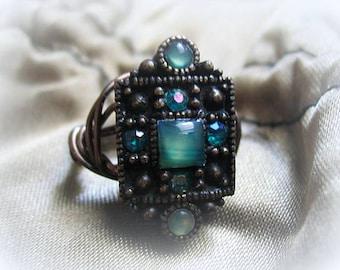 Vintage Piece Blue Stone & Rhinestone Ring Choose Your Size