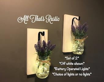 Set of 2 Mason Jar Sconces, Rustic Home Decor, Lighted Mason Jars, Mason Jar Sconce, Lavender, Mason Jar Lights, Mason Jar Decor, Wall Decor