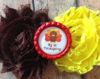Baby 1st Thanksgiving headband turkey hair clip shabby bottle cap yellow brown
