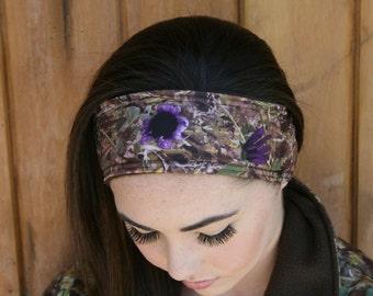 Sunflower Camo Polar Fleece Ear Warmer/Headband Purple Accented