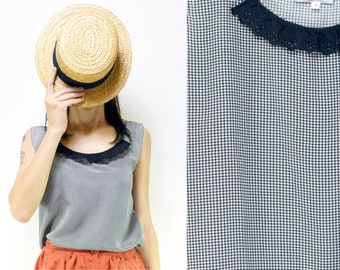 Handmade Pure Vintage Silk black/white Gingham Top with San Gallo Lace collar [Louise tank/BW Gingham]Small Medium Large