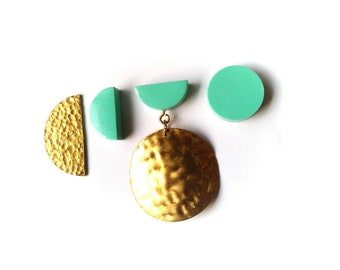 Mix and Match Earring Set Mint Brass Geometric Minimalist Earrings FREE UK SHIPPING