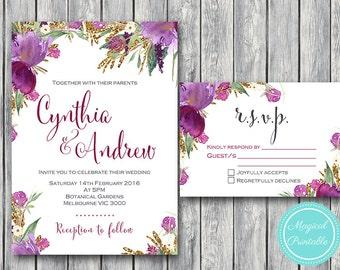 Purple  Wedding Invitation Set, Wedding Invitation Printable, Bridal Shower Invitation, Personalized, Wedding Invitation Suite TH59  WI43