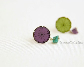 Sea urchin earring studs, olive green and purple urchin earrings, different earrings