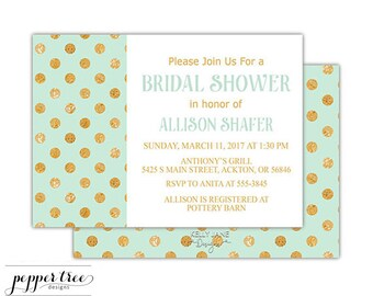 Modern Bridal Shower Invitation in mint and gold - Mint with gold texture-look polka dot pattern - Printable Invitation