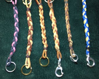Braided leather key chain. Purse charm key chain. Multiple color choices. Great gift.