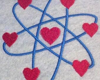 Atomic Love, atom embroidery design, scientific love, geeks unite, nerds rule, periodic table, science rocks