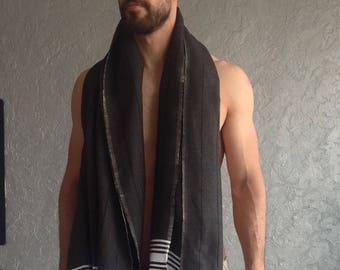 Father's day gift, Premium Turkish towel, peshtemal, beach, pool, SPA, bath towel, hammam, Ecofriendy Gift, Natural Soft Cotton, Black