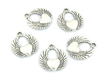 10pcs antique silver tone angel wings love heart charm pendant 20x22mm #TS9406