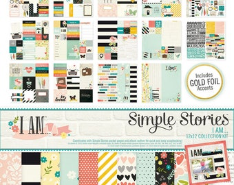 Kit scrapbooking Simple Stories I AM - 30,5 x 30.5 cm double sided STICKERS.