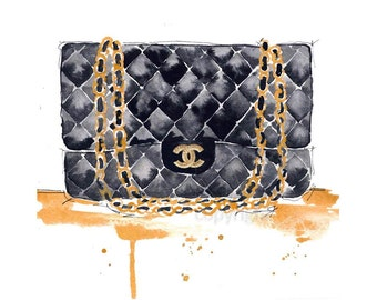Chanel Purse Fashion Illustration Watercolor Painting Print - Home decor and wall art