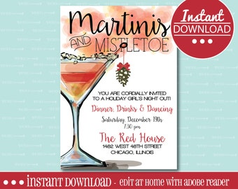 CHRISTMAS PARTY INVITATION, Printable, Girls Night Out, Martini, Christmas, Gift Exchange, Holiday, Mistletoe, Drink, Party, Digital File