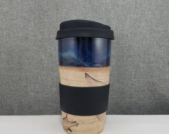 IN STOCK*** Ceramic Travel mug / Commuter mug with silicone lid - Dark Blue - Leafs
