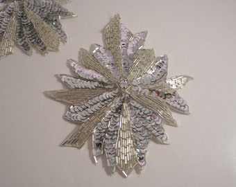 Silver Crystal Large Beaded and Sequined Applique--One Piece