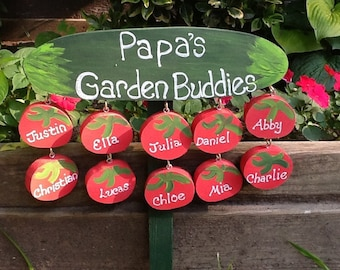 Grandpa garden sign with personalized grandchildren