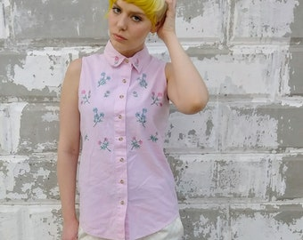 Embroidered Sleeveless Button Up
