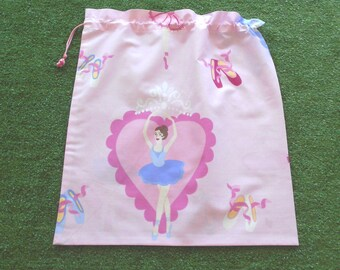 Ballerina library bag, large drawstring bag for girls, toy bag, kindy sheet bag