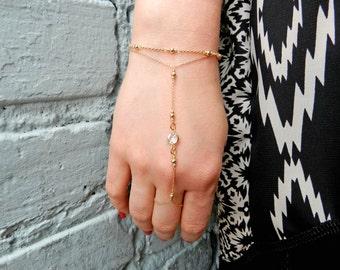 Gold Hand Chain, Slave Bracelet, Gold Crystal Chain Bracelet, Attach Ring Bracelet, Bridesmaid Gift, Hand Jewelry, Silver Slave Bracelet