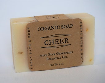 Cheer Pink Grapefruit Organic Bar Soap, 100 PERCENT NATURAL, All Natural Handmade Soap, Soap for Her, Gifts for Mom, Mother's Day Gifts