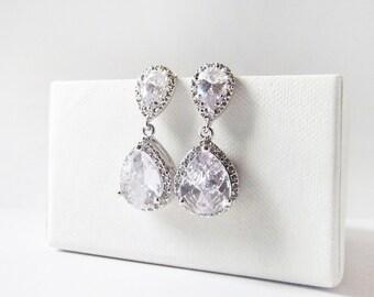cubic zirconia drop earrings, cz earrings, drop earrings, bridal earrings, crystal earrings, silver bridal jewelry, wedding jewelry