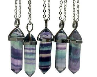 Rainbow Fluorite Necklace- Fluorite Point Necklace Silver- Crystal Point Pendant- Rainbow Fluorite Pendant- Fluorite Crystal Pendant