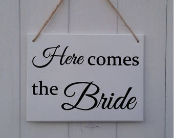 Here Comes The Bride Sign | Here Comes The Bride Plaque | Wedding Sign | Page Boy Sign | Ring Bearer Sign | Bridesmaid Sign | Ring Security