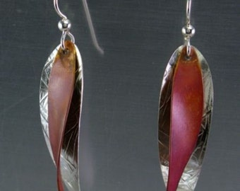 Silver and Copper Leaf earrings le-584-cu11