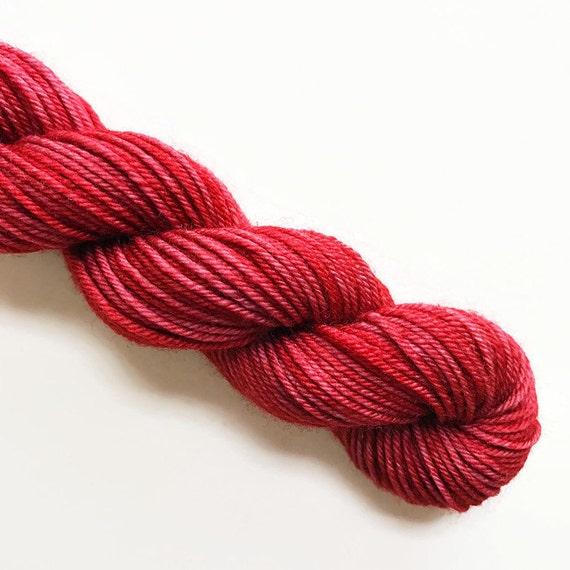 paprika / hand dyed yarn / mini skein / sock fingering yarn / merino wool superwash / embroidery / 4 ply / sparkle / chili spice red yarn